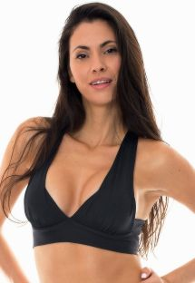 Black workout sports bra with crossover back - NZ PRETO TOP FITNESS