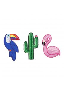 Set mit 3 Buttons: Tukan / Flamingo / Kaktus - BADGES TROPICAL