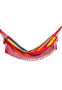 Hamaca de algodón de colores con flecos macrame 4,1M x 1,55M - ARCO IRIS COLORIDA