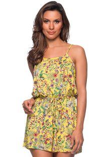 Beach romper in yellow floral print - MACAQUINHO DREAM AMARELA