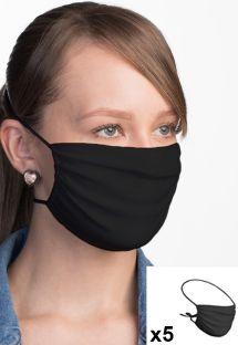 Lot de 5 masques tissu noir réglables réutilisables - 5 x FACE MASK BBS02 2 LAYERS