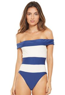 Weiß und blau gestreifter, schulterfreier Badeanzug - CARMEM AZUL FURACAO