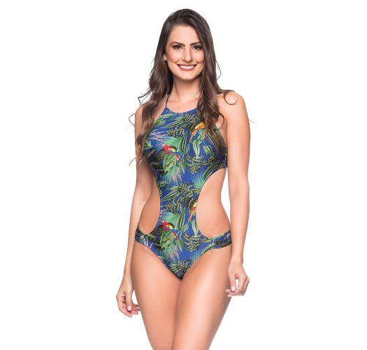 Colorful tropical deeply cut Brazilian monokini - ENAGANA ARARA AZUL