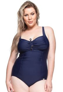 Pleated one-piece swimsuit in navy blue - ROTA DO SOL