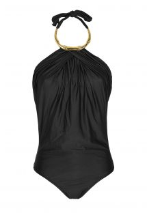 Draped effect one-piece swimsuit, gold-coloured necklace - BAMBOO BLACK MAILLOT