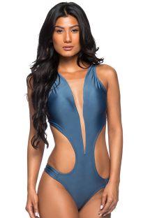 Blauer Monokini, durchsichtiges Dekolletee - DECOTE TULE ELEGANCE