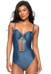 Blauer Badeanzug, geflochtene Multischnüre - TRONCADO ELEGANCE