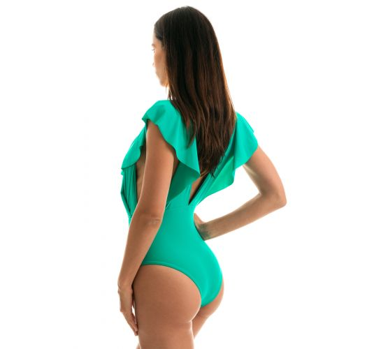 Green one-piece plunging neckline swimsuit with ruffles - BODY BAHAMAS FRILL