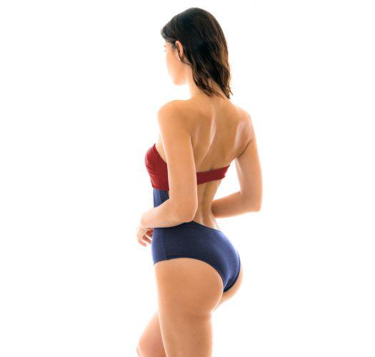 Texturierter asymmetrischer Badeanzug - BODY COLOR RED BLUE