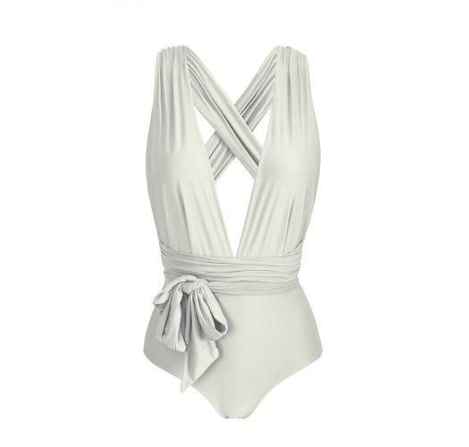 Multi-position broken white one-piece swimsuit - BODY PEROLA MARINA