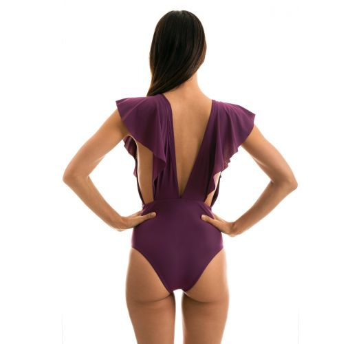 Plum plunging one-piece swimsuit with ruffles - BODY SUBLIME FRILL