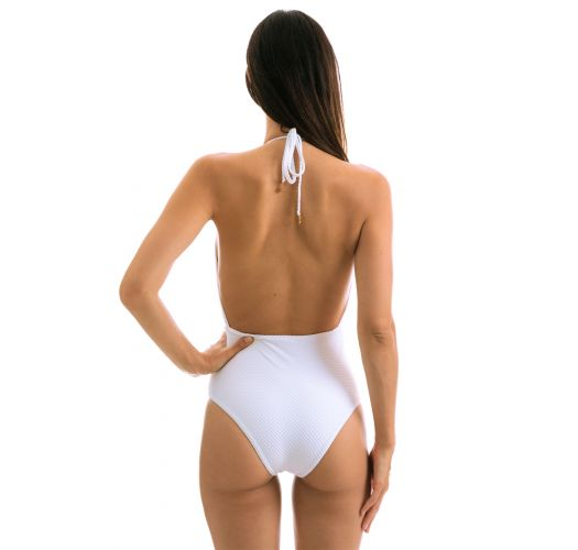 White one-piece swimsuit - CLOQUE BRANCO TRANSPASSADO