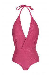 Pink fuchsia textured fabric swimsuit - CLOQUE LICHIA TRANSPASSADO