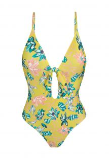 Yellow floral high-leg swimsuit with front knot - FLORESCER HYPE NO
