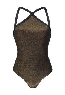 בגד ים חלק אחד צבע שחור מבד מסוג לורקס מראה מתכתי - HIGH NECK RADIANTE