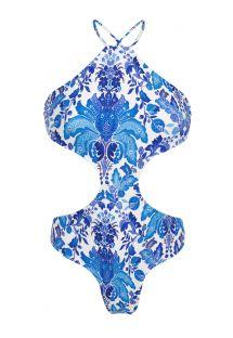 Trikini, blau/weiß geblümt mit hohem Halsausschnitt - HORTENSIA BODY DECOTE