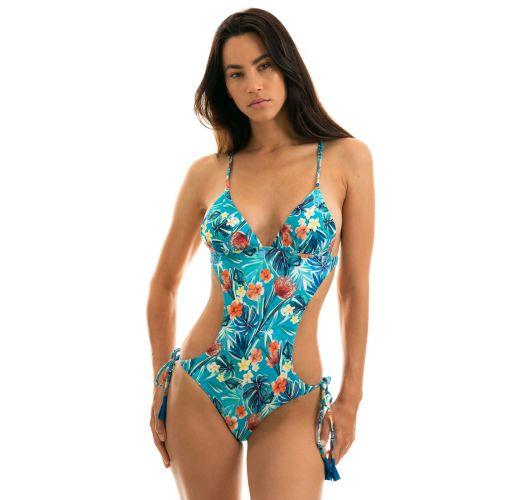 Blue floral Brazilian scrunch monokini - ISLA TRIKINI