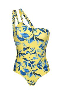 Plant yellow asymmetric one-piece swimsuit - LEMON FLOWER ONE SHOULDER