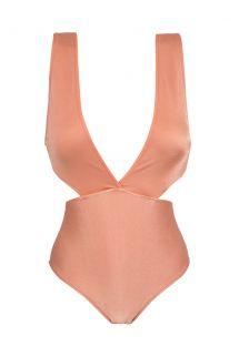 Ferskenfarvet brasiliansk trikini med høj talje - TRIKINI OURO ROSA