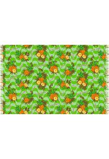 Grøn pareo med frynser og ananasmotiver - ABACAXI BRASIL