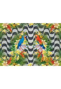Copacabana tropical sarong with colourful parrots - CANGA ARARA FLORAL COPACABANA