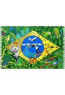 Sarong with flag and animals - CANGA BANDEIRA DO BRASIL NAIF