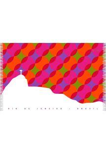 A multicoloured geometric Sarong with a view of Rio de Janeiro - CANGA BOLAS KAKAU