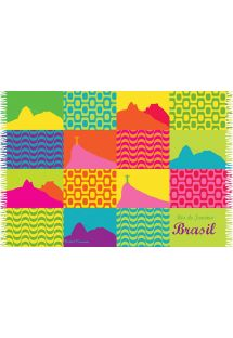 A multicoloured patchworksarong with  emblems of Rio de Janeiro - CANGA CARIOCA PATCHWORK