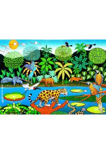Tropical forest sarong with animals - CANGA PANTANAL NAIF