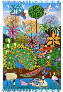 Pareo with a multicoloured native forest drawing - CANGA SELVA NAIF
