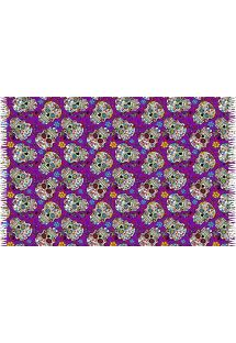 Fringed purple pareo with skulls - CAVEIRA PEQUENA ROXO