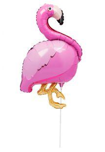 Folieballon designet som en lyserød flamingo, med stang - BALLOON FLAMINGO