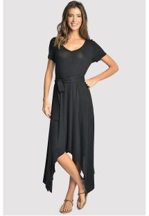 Asymmetric luxury belted black beach dress - ASYMMETRIC DRESS BLACK