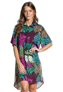 Shirt beach dress in coral print - CAMISA ESTAMPADA