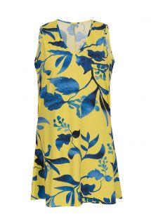 Abito da spiaggia senza maniche con stampa blu e corallo - DRESS LEMON FLOWER