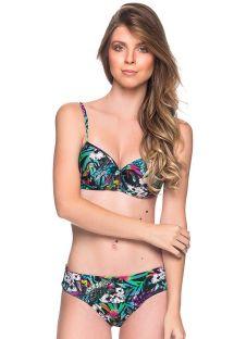 Flerfärgad balconette-bikini med blommigt mönster och bygel - BASE ATALAIA