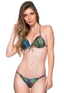 Trekant bikini med tropisk farvestrålende print, push-up effekt og justerbare bikinitrusser - CORTINAO ARARA AZUL