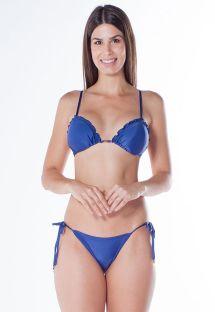 Biquíni brasileiro franzido azul-escuro - ROLETÊ RIPPLE ARARA AZUL