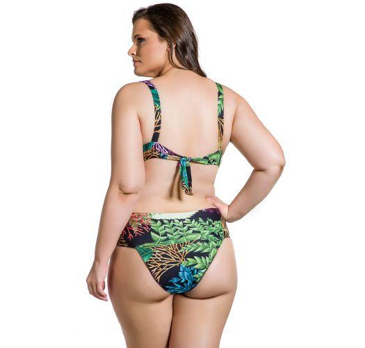 Plus size bikini with balconette top in coral print - BELLA PLANTAS PLUS