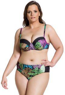 Plus size Brazilian bikini with balconette top in coral & black print - SIMPLES PLANTAS PLUS
