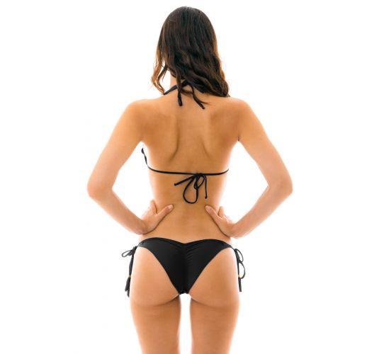 Black scrunch bikini with tassels and wavy edges - AMBRA PRETO EVA