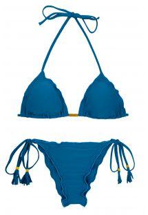 Blue scrunch bikini with tassels - AMBRA TURQUIA FRUFRU