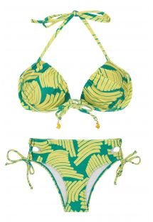 Larger side Brazilian bikini in green banana print - BANANA YELLOW BALCONET