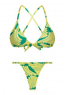 Green print bikini with adjustable string bottom - BANANA YELLOW MICRO