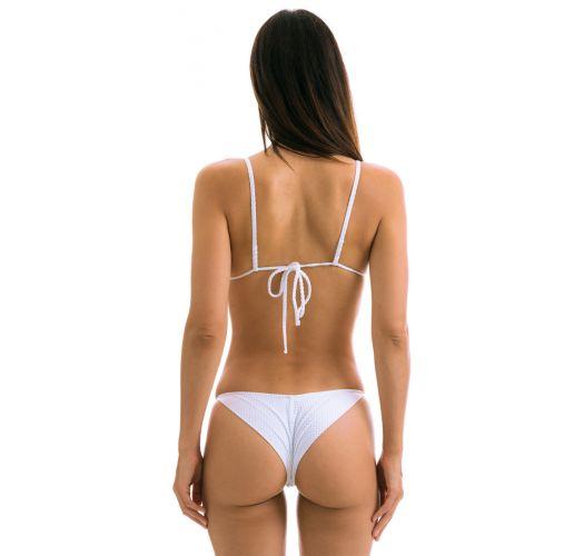 Adjustable white textured cheeky bikini - CLOQUE BRANCO CHEEKY