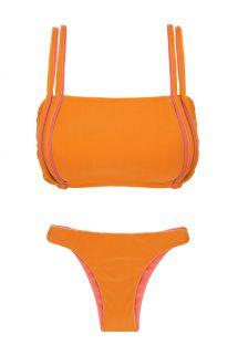 Orange bra bikini with pink details and reversible bottom - DUO ORANGE