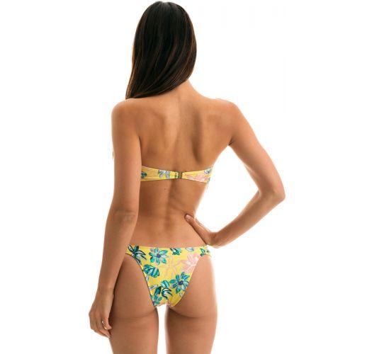 Yellow floral bandeau bikini with front knot - FLORESCER BANDEAU
