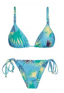 Bikini floral azul con top  tiras rectas - FLOWER GEOMETRIC INVISIBLE