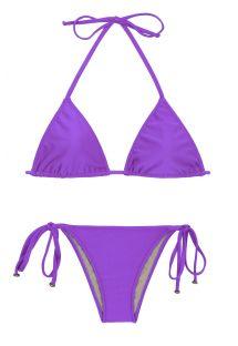 Bikini brésilien violet accessoirisé à nouer - FUCHSIA LACINHO