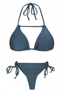 Bikini string bleu ardoise et triangle détail lanière - GALAXIA DETAIL